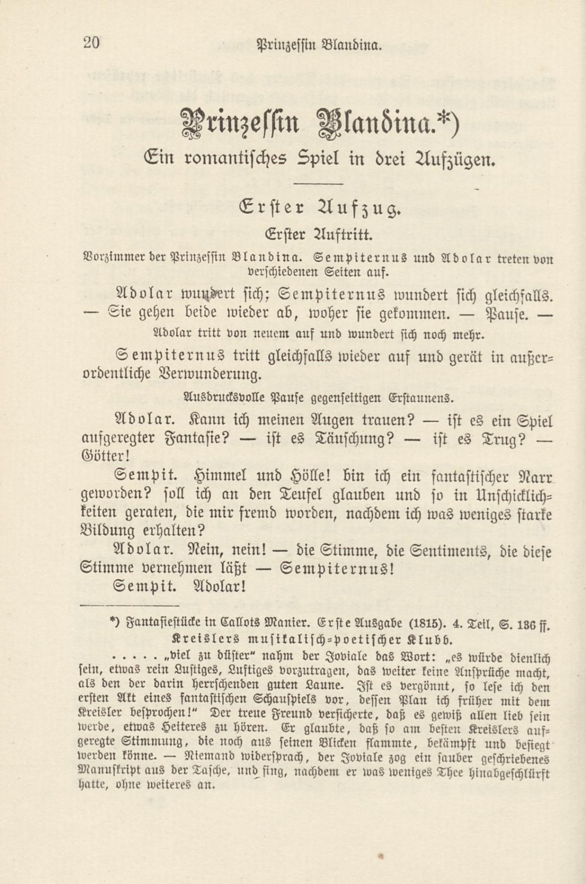 E.T.A. Hoffmann: Prinzessin Blandina, in: E.T.A. Hoffmann's sämtliche Werke in fünfzehn Bänden. Bd. 15. Leipzig: Max Hesse's Verlag 1900. SBB-PK Sign. Yw 9078/9-15.