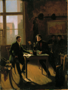 Hermann Kramer: Hoffmann and Devrient in the Lutter and Wegner Weinkeller. Painting 1843. Quelle: Britannica ImageQuest. Copyright: akg-images / Universal Images Group Rights Managed / For Education Use Only