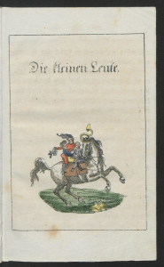 E.T.A Hoffmann: Die kleinen Leute, in: Kinder-Mährchen von: C.W. Contessa, Friedrich Baron de la Motte Fouqué und E.T.A. Hoffmann. Berlin: Realschulbuchhandlung 1816. SBB PK Sign. B IV 2b, 2077-1
