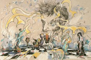 Michael Knobel: Virtuoses Spiel. Bildnis E.T.A. Hoffmann (Farblithografie, 1999) / Staatsbibliothek Bamberg. Signatur VI E 346td/28 / Copyright: Michael Knobel.