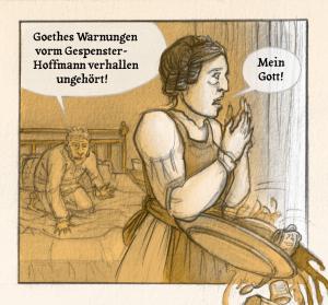 Panel Gespenster-Hoffmann. Aus: Felix Pestemer: Alles bleibt anders. Berlin: avant 2021. Copyright: Felix Pestemer / avant Verlag.