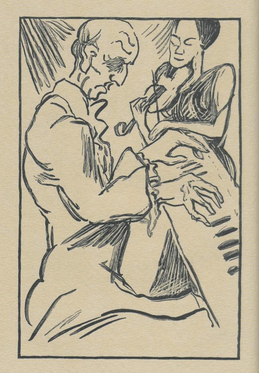 Aus E.T.A. Hoffmann: Ritter Gluck. Eine Erinnerung aus dem Jahre 1809. München: Piper 1920. Illustriert von Rudolf Grossmann. SBB-PK Sign. 26 ZZ 137.