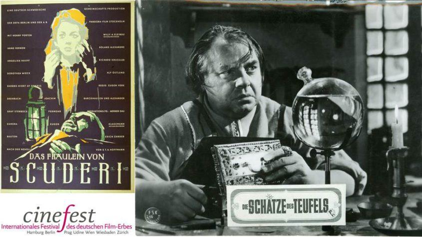 """Plakat """"Das Fräulein von Scuderi"""" (DDR/SE 1954/55, Eugen York) Quelle: Bundesarchiv (BArch PLAK 105_10143). Filmszene: """"Das Fräulein von Scuderi"""" (DDR/SE 1954/55, Eugen York) Quelle: Deutsche Kinemathek - Museum für Film und Fernsehen, Berlin ©DEFA-Stiftung/Eduard Neufeld"""