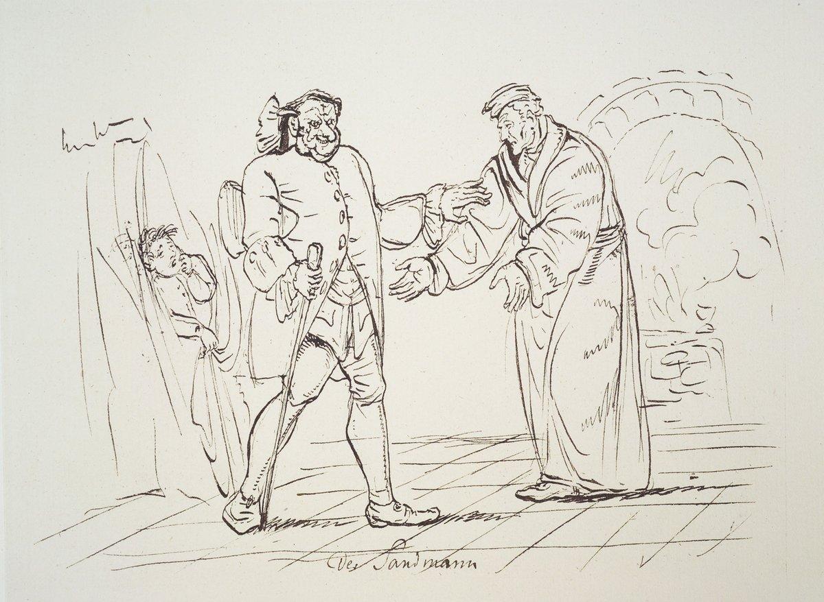 "E.T.A. Hoffmann: Illustration zur Erzählung ""Der Sandmann"". Berlin 1815. Original Federzeichnung, nicht erhalten. Reproduktion, Staatsbibliothek Bamberg Sign. Bg.o.289."