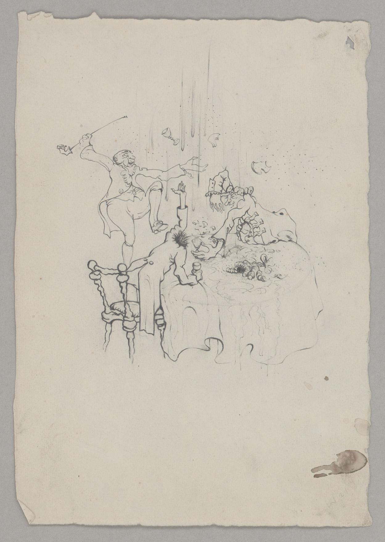 """Wolfgang Schaukal: Zeichnung zu E.T.A. Hoffmann """"Der Goldene Topf"""" © In Copyright"""